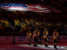 PITTSBURGH, PA - MAY 22:  The Pittsburgh Penguins stand on ice for the national anthem prior to Game Five of the Eastern Conference Final against the Tampa Bay Lightning during the 2016 NHL Stanley Cup Playoffs at Consol Energy Center on May 22, 2016 in Pittsburgh, Pennsylvania.  (Photo by Justin K. Aller/Getty Images)