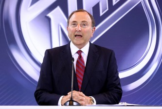 LAS VEGAS, NV - JUNE 22:  Commissioner Gary Bettman of the National Hockey League addresses the media during the Board Of Governors Press Conference prior to the 2016 NHL Awards at Encore Las Vegas on June 22, 2016 in Las Vegas, Nevada.  (Photo by Bruce Bennett/Getty Images)