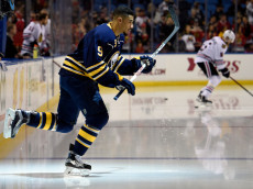 BUFFALO, NY - DECEMBER 19: Evander Kane #9 of the Buffalo Sabres enters the ice during warmups at the First Niagara Center on December 19, 2015 in Buffalo, New York. (Photo by Tom Brenner/ Getty Images)