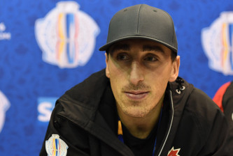 TORONTO, ON - SEPTEMBER 15: Brad Marchand of Team Canada listens to a question during Media day at the World Cup of Hockey 2016 at Air Canada Centre on September 15, 2016 in Toronto, Ontario, Canada. (Photo by  Minas Panagiotakis/Getty Images)