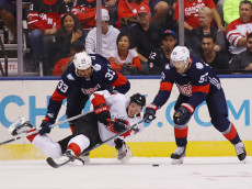 TORONTO, ON - SEPTEMBER 20: Dustin Byfuglien #33 and Max Pacioretty #67 of Team USA combine to take down Matt Duchene #9 of Team Canada during the first period during the World Cup of Hockey tournament at the Air Canada Centre on September 20, 2016 in Toronto, Canada.  (Photo by Bruce Bennett/Getty Images)