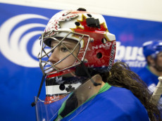 COLUMBUS, GA - MARCH 13:  Shannon Szabados #40 of the Columbus Cottonmouths prepares to take the ice at Columbus Civic Center on March 13, 2014 in Columbus, Georgia. The Pensacola Ice Flyers defeated the Columbus Cottonmouths 5-0. (Photo by Todd Kirkland/Getty Images)