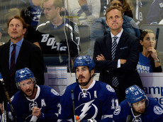 TAMPA, FL - MAY 24:  Head coach Jon Cooper of the Tampa Bay Lightning reacts against the Pittsburgh Penguins in Game Six of the Eastern Conference Final during the 2016 NHL Stanley Cup Playoffs at Amalie Arena on May 24, 2016 in Tampa, Florida.  (Photo by Jason Behnken/Getty Images)