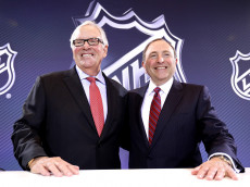 LAS VEGAS, NV - JUNE 22:  New Las Vegas NHL franchise owner Bill Foley and commissioner Gary Bettman of the National Hockey League pose for a photo during the Board of Governors Press Conference prior to the 2016 NHL Awards at Encore Las Vegas on June 22, 2016 in Las Vegas, Nevada. The NHL's board of governors approved expanding to Las Vegas, making the franchise the 31st team in the league. The team will start play during the 2017-18 season and play at the newly built T-Mobile Arena.  (Photo by Bruce Bennett/Getty Images)