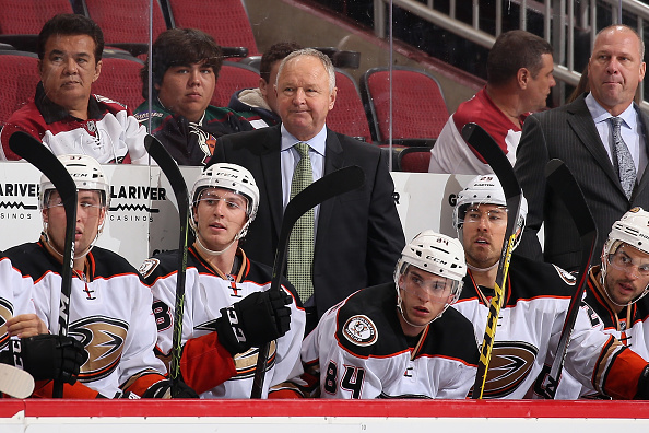 GLENDALE, AZ - OCTOBER 01:  Head coach Randy Carlyle of the Anaheim Ducks watches from the bench during the preseason NHL game against Arizona Coyotes at Gila River Arena on October 1, 2016 in Glendale, Arizona. The Coyotes defeated the Ducks 3-2 in overtime.  (Photo by Christian Petersen/Getty Images)