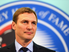 TORONTO, ON - NOVEMBER 06: Sergei Fedorov takes part in a press conference at the Hockey Hall of Fame and Museum on November 6, 2015 in Toronto, Ontario, Canada. Fedorov will be inducted into the Hall on November 9, 2015.  (Photo by Bruce Bennett/Getty Images)