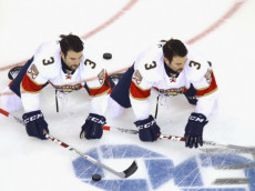 NEW YORK, NY - NOVEMBER 20: (EDITORS NOTE: Multiple exposures were combined in camera to produce this image.) Keith Yandle #3 of the Florida Panthers stretches in wramups prior to the game against the New York Rangers at Madison Square Garden on November 20, 2016 in New York City.  (Photo by Bruce Bennett/Getty Images)