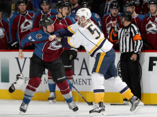 DENVER, CO - NOVEMBER 29:  Cody McLeod #55 of the Colorado Avalanche fights Austin Watson #51 of the Nashville Predators at the Pepsi Center on November 29, 2016 in Denver, Colorado.  (Photo by Matthew Stockman/Getty Images)
