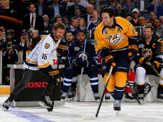 NASHVILLE, TN - JANUARY 30:  James Neal #18 of the Nashville Predators skates with country music artist Dierks Bentley during the 2016 Honda NHL All-Star Skill Competition at Bridgestone Arena on January 30, 2016 in Nashville, Tennessee.  (Photo by Bruce Bennett/Getty Images)