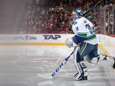 GLENDALE, AZ - NOVEMBER 23:  Goaltender Ryan Miller #30 of the Vancouver Canucks skates out onto the ice before the start of the NHL game against the Arizona Coyotes at Gila River Arena on November 23, 2016 in Glendale, Arizona.  (Photo by Christian Petersen/Getty Images)