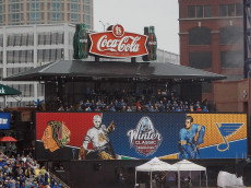 ST. LOUIS, MO - JANUARY 2: A general view of the centerfield score board during the 2017 Bridgestone NHL Winter Classic between the St. Louis Blues and the Chicago Blackhawks at Busch Stadium on January 2, 2017 in St. Louis, Missouri. (Photo by Scott Kane/Getty Images)