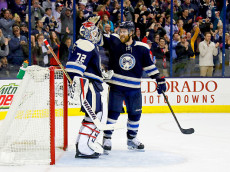 COLUMBUS, OH - JANUARY 3:  David Savard #58 of the Columbus Blue Jackets congratulates Sergei Bobrovsky #72 of the Columbus Blue Jackets after defeating the Edmonton Oilers 3-1 and extended the teams winning streak to 16 games on January 3, 2017 at Nationwide Arena in Columbus, Ohio. (Photo by Kirk Irwin/Getty Images)