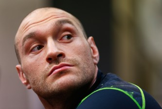 LONDON, ENGLAND - FEBRUARY 25:  Tyson Fury looks on during a media workout at the Peacock Gym on February 25, 2015 in London, England.  (Photo by Julian Finney/Getty Images)