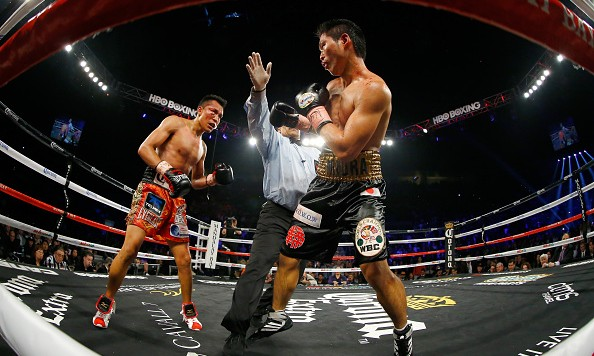 LAS VEGAS, NV - NOVEMBER 21:  Referee Tony Weeks stops the fight in the ninth round as Francisco Vargas defeats Takashi Miura by TKO during their WBC super featherweight title fight at the Mandalay Bay Events Center on November 21, 2015 in Las Vegas, Nevada.  (Photo by Al Bello/Getty Images)