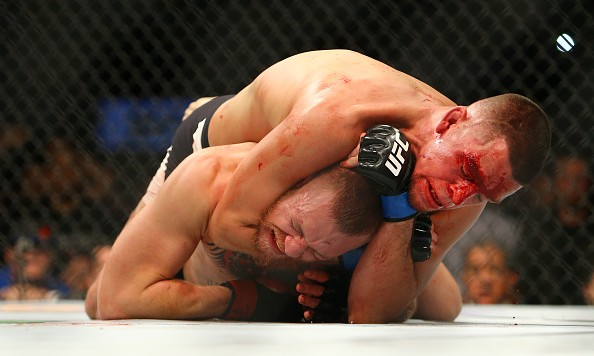 LAS VEGAS, NV - MARCH 5:  Nate Diaz applies a choke hold to win by submission against Conor McGregor during UFC 196 at the MGM Grand Garden Arena on March 5, 2016 in Las Vegas, Nevada. (Photo by Rey Del Rio/Getty Images)
