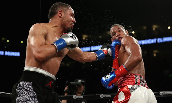 Andre Ward fights against Sullivan Barrera in their IBF Light Heavyweight bout at ORACLE Arena on March 26, 2016 in Oakland, California. *** Local Caption *** Andre Ward; Sullivan Barrera