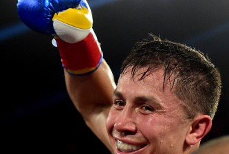 Gennady Golovkin Dominic Wade during a middleweight title fight at The Forum on April 23, 2016 in Inglewood, California.