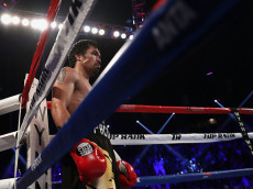 LAS VEGAS, NV - NOVEMBER 05:  Manny Pacquiao stands in the croner during his WBO welterweight championship fight against Jessie Vargas at the Thomas & Mack Center on November 5, 2016 in Las Vegas, Nevada.  (Photo by Christian Petersen/Getty Images)