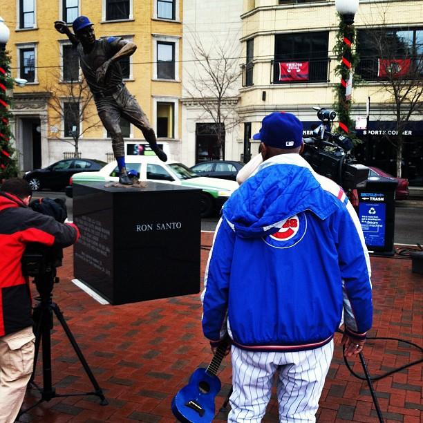 Ron Santo Statue TV Cameras