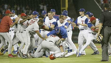 angels rangers brawl