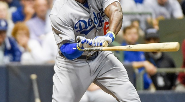 Yasiel Puig broken bat check swing