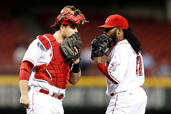 Reds battery Johnny Cueto and Devin Mesoraco