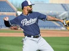 PEORIA, AZ - MARCH 4:  Matt Kemp #27 of the San Diego Padres is seen prior to the game against the Seattle Mariners on March 4, 2015 at Peoria Stadium in Peoria, Arizona.  The Mariners defeated the Padres 4-3 in 10 innings. (Photo by Rich Pilling/Getty Images)