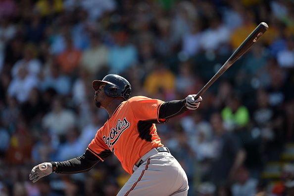 BRADENTON, FL - MARCH 15:  Adam Jones #10 of the Baltimore Orioles swings at a pitch during the first inning of a spring training game against the Pittsburgh Pirates at McKechnie Field on March 15, 2015 in Bradenton, Florida.  (Photo by Stacy Revere/Getty Images)