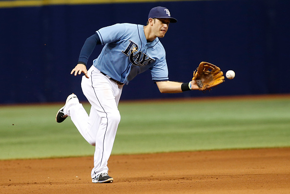 ST. PETERSBURG, FL - MAY 24:  Third baseman Evan Longoria #3 of the Tampa Bay Rays fields the ground out by Max Muncy #50 of the Oakland Athletics during the eighth inning of a game on May 24, 2015 at Tropicana Field in St. Petersburg, Florida.  (Photo by Brian Blanco/Getty Images)