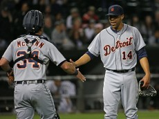 CHICAGO, IL - JUNE 06:  David Price #14 of the Detroit Tigers celebrates a complete game win against the Chicago White Sox with James McCann #34 at U.S. Cellular Field on June 5, 2015 in Chicago, Illinois. The Tigers defeated the White Sox 7-1.  (Photo by Jonathan Daniel/Getty Images)