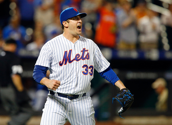 NEW YORK, NY - JUNE 16:  Matt Harvey #33 of the New York Mets reacts after the final out of the seventh inning against the Toronto Blue Jays at Citi Field on June 16, 2015 in the Flushing neighborhood of the Queens borough of New York City.  (Photo by Jim McIsaac/Getty Images)