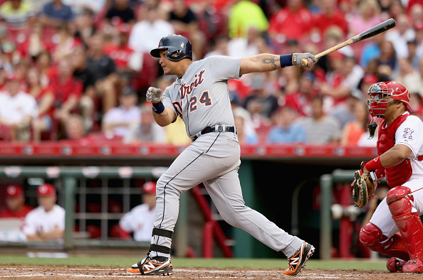 CINCINNATI, OH - JUNE 17:  Miguel Cabrera #24 of the Detroit Tigers hits a pitch during the game against the Cincinnati Reds at Great American Ball Park on June 17, 2015 in Cincinnati, Ohio.  (Photo by Andy Lyons/Getty Images)