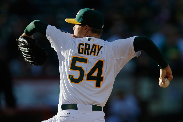 OAKLAND, CA - JUNE 19:  Starting pitcher Sonny Gray #54 of the Oakland Athletics throws against the Los Angeles Angels of Anaheim in the first inning at O.co Coliseum on June 19, 2015 in Oakland, California.   The Angels won 12-7. (Photo by Brian Bahr/Getty Images)
