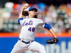 NEW YORK, NY - JUNE 13:  Jacob deGrom #48 of the New York Mets pitches in the first inning against the Atlanta Braves at Citi Field on June 13, 2015 in the Flushing neighborhood of the Queens borough of New York City.  (Photo by Jim McIsaac/Getty Images)