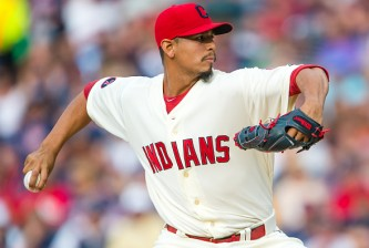 CLEVELAND, OH - JULY 11: Starting pitcher Carlos Carrasco #59 of the Cleveland Indians pitches during the first inning against the Oakland Athletics at Progressive Field on July 11, 2015 in Cleveland, Ohio. (Photo by Jason Miller/Getty Images)