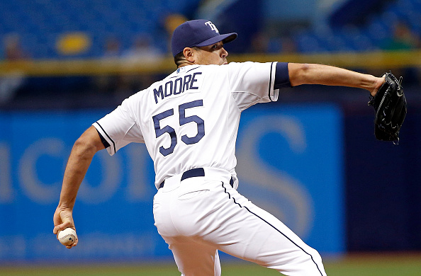 ST. PETERSBURG, FL - SEPTEMBER 17: Matt Moore #55 of the Tampa Bay Rays pitches during the first inning of a game against the Baltimore Orioles on September 17, 2015 at Tropicana Field in St. Petersburg, Florida. (Photo by Brian Blanco/Getty Images)