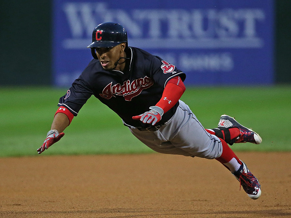 CHICAGO, IL - SEPTEMBER 09: Francisco Lindor #12 of the Cleveland Indians dives into third base with a triple in the 1st inning against the Chicago White Sox at U.S. Cellular Field on September 0, 2015 in Chicago, Illinois. (Photo by Jonathan Daniel/Getty Images)