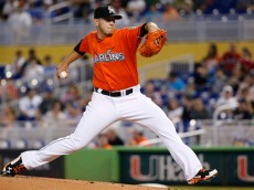 MIAMI, FL - MAY 04: José Fernandez #16 of the Miami Marlins delivers a pitch during the first inning of the game against the Los Angeles Dodgers  at Marlins Park on May 04, 2014 in Miami, Florida. (Photo by Rob Foldy/Getty Images)