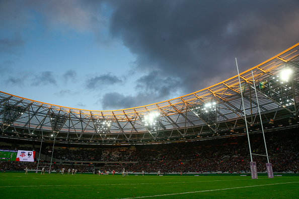 during the International Rugby League Test Series match between England and New Zealand at the Olympic Stadium on November 7, 2015 in London, England.