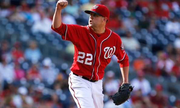 WASHINGTON, DC - SEPTEMBER 07: Drew Storen #22 of the Washington Nationals reacts after a pitch to a Philadelphia Phillies batter during the ninth inning of a 3-2 Nationals win at Nationals Park on September 7, 2014 in Washington, DC. (Photo by Jonathan Ernst/Getty Images)