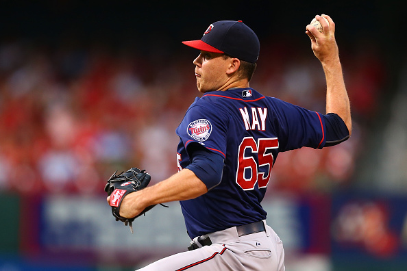 ST. LOUIS, MO - JUNE 15: Starter Trevor May #65 of the Minnesota Twins pitches against the St. Louis Cardinals in the first inning at Busch Stadium on June 15, 2015 in St. Louis, Missouri.  (Photo by Dilip Vishwanat/Getty Images)