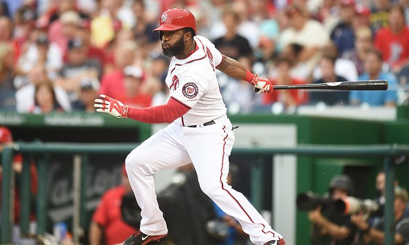 WASHINGTON, DC - JULY 03:  Denard Span #2 of the Washington Nationals hits a lead off single in the first inning during a baseball game against the San Francisco Giants at Nationals Park on July 3, 2015 in Washington, DC.  (Photo by Mitchell Layton/Getty Images)