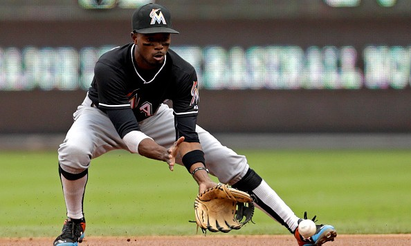 PHILADELPHIA, PA - OCTOBER 4: Dee Gordon #9 of the Miami Marlins in action during an MLB game against the Philadelphia Phillies at Citizens Bank Park on October 4, 2015 in Philadelphia, Pennsylvania. (Photo by Adam Hunger/Getty Images)