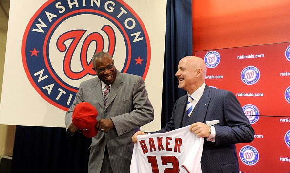 WASHINGTON, DC - NOVEMBER 05: Dusty Baker is introduced as Manager of the Washington Nationals by General Manager Mike Rizzo at Nationals Park on November 5, 2015 in Washington, DC. (Photo by Greg Fiume/Getty Images)