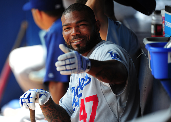 ATLANTA, GA - JULY 22: Howie Kendrick #47 of the Los Angeles Dodgers relaxes in the dugout before the game against the Atlanta Braves at Turner Field on July 22, 2015 in Atlanta, Georgia. (Photo by Scott Cunningham/Getty Images)