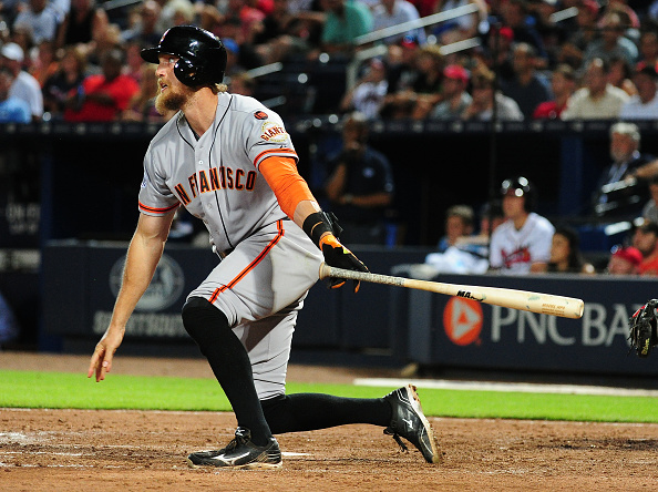 ATLANTA, GA - AUGUST 4: Hunter Pence #8 of the San Francisco Giants hits a three-run home run in the eighth inning against the Atlanta Braves at Turner Field on August 4, 2015 in Atlanta, Georgia. (Photo by Scott Cunningham/Getty Images)