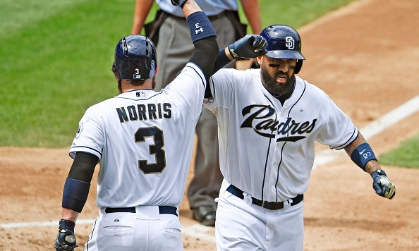 SAN DIEGO, CA - SEPTEMBER 10:  Matt Kemp #27 of the San Diego Padres is congratulated by Derek Norris #3  after hitting a solo home run in the fourth inning of a baseball game against the Colorado Rockies at Petco Park September 10, 2015 in San Diego, California.  (Photo by Denis Poroy/Getty Images)