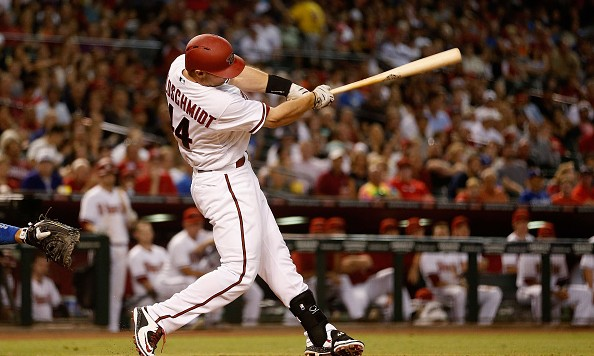 PHOENIX, AZ - SEPTEMBER 11:  Paul Goldschmidt #44 of the Arizona Diamondbacks hits a two run home-run against the Los Angeles Dodgers during the second inning of the MLB game at Chase Field on September 11, 2015 in Phoenix, Arizona.  (Photo by Christian Petersen/Getty Images)