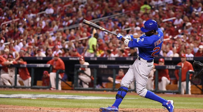 ST LOUIS, MO - OCTOBER 10:  Dexter Fowler #24 of the Chicago Cubs hits a double in the seventh inning against the St. Louis Cardinals during game two of the National League Division Series at Busch Stadium on October 10, 2015 in St Louis, Missouri.  (Photo by Michael B. Thomas/Getty Images)