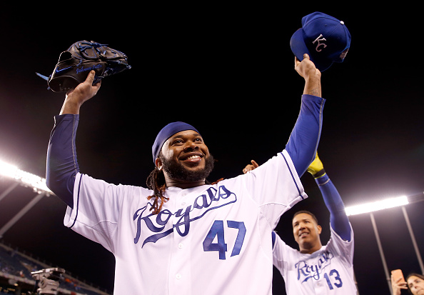 KANSAS CITY, MO - OCTOBER 28:  Johnny Cueto #47 of the Kansas City Royals celebrates defeating the New York Mets 7-1 in Game Two of the 2015 World Series at Kauffman Stadium on October 28, 2015 in Kansas City, Missouri.  (Photo by Christian Petersen/Getty Images)